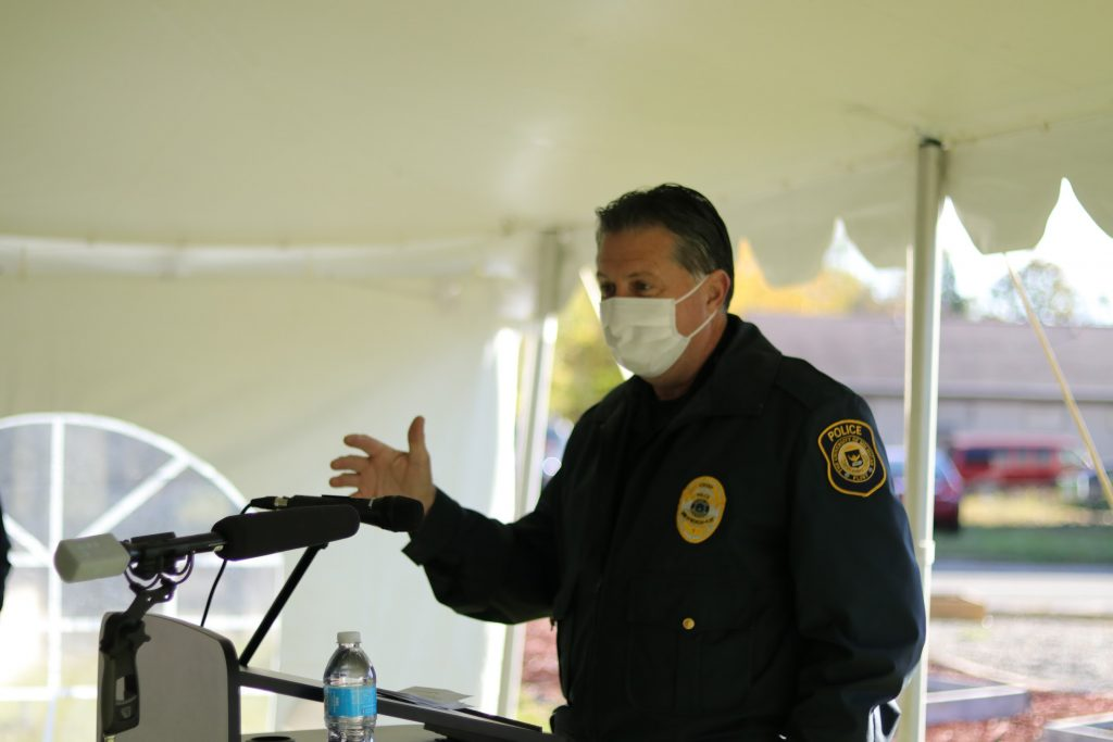 UM-Flint Police Department, Director Ray Hall, delivering safety and awareness guidance while in the community.
